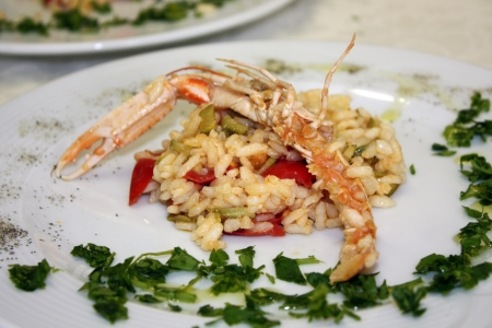 refinement: Risotto with prawns