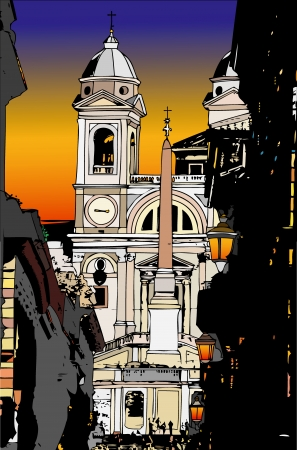 Postcards from the World - Piazza di Spagna by night