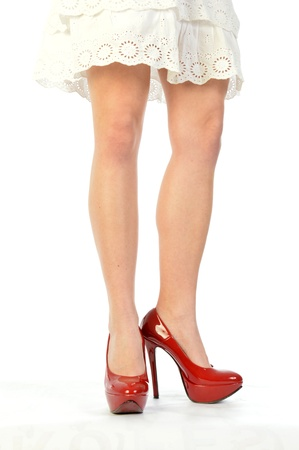 Red Shoes 165 - The legs and shoes of a seductive girl photo