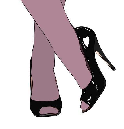 stockings and heels: Expectant Illustration
