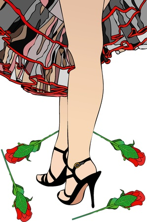 Flamenco and Red Roses Vector