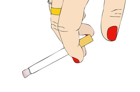 Female hand with cigarette photo