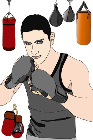 ko: Boxer in training Illustration