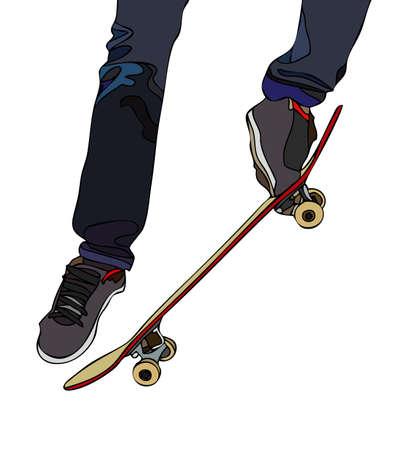 elbow pads: Evolutions on board skateboard Illustration