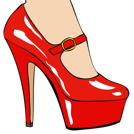 stockings and heels: Red Shoe