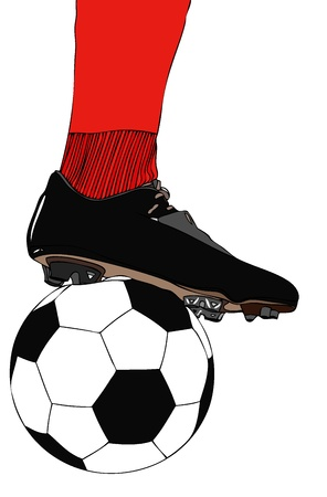 Soccer player boot with ball  Vector
