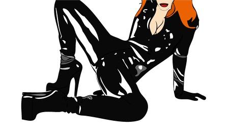 Woman in a black tight dress Illustration