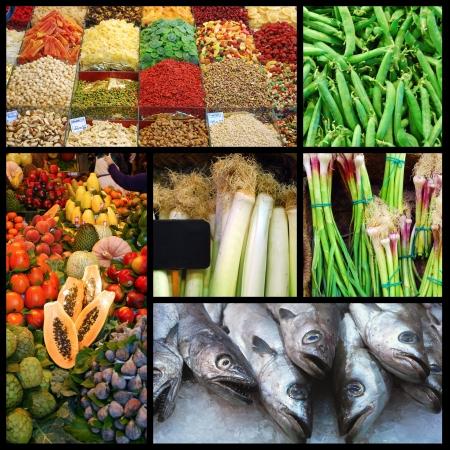 carnes y verduras: Una visita al mercado Foto de archivo