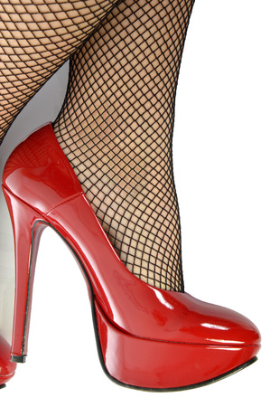 Shoes and fishnet stockings photo