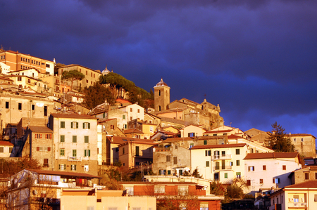 The town of Palestrina at sunset before a thunderstorm