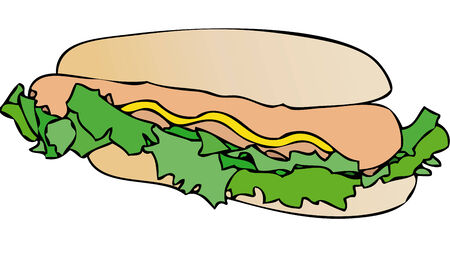 mayonnaise: A nice sandwich stuffed with sausage, salad and mayonnaise