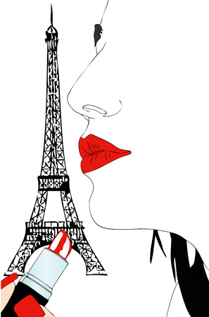 Makeup in Paris - Graphic image of a woman at the makeup in Paris Vector