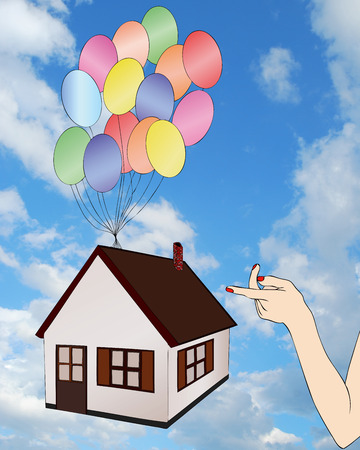longing: Longing for a house - graphical representation of the desire to have a home Stock Photo