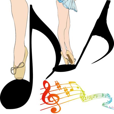 Danza de Notas - Ilustración de una bailarina que baila entre las notas