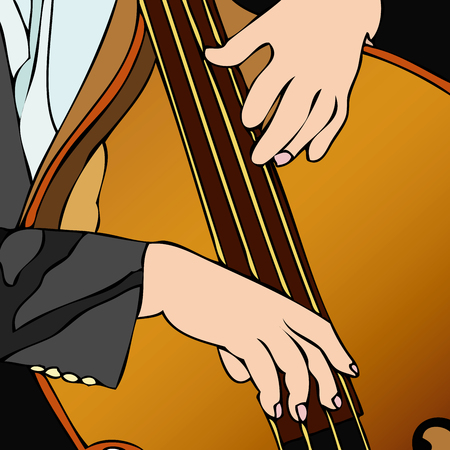 Bass player in concert - Illustration of a musician during a concert Stock Vector - 26214522