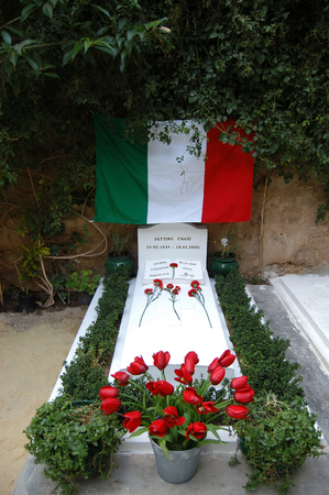 idealistic: Hammamet - Tunisia - Africa - February 2014 - The tomb of Bettino Craxi former president of the Italian Government, condemned by the Italian Justice and dead in absentia in Hammamet January 19, 2000, is buried in the graveyard of Hammamet