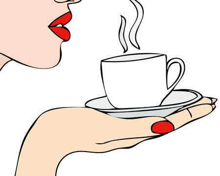 The Aroma of Coffee - A woman drinking a hot coffee in a cup  Vector
