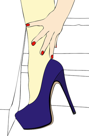 The Idea of sensuality - Illustration of a woman with beautiful shoes