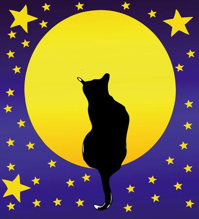 cielo estrellado: El gato, la luna llena y un cielo estrellado - Ilustraci�n rom�ntica de un gato delante de la Luna Llena