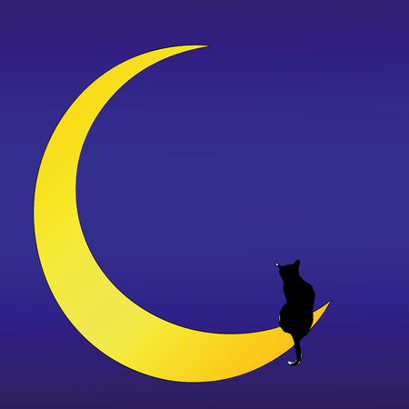 poet: The Cat on the Moon (love song) - Romantic illustration of a Cat on the Moon