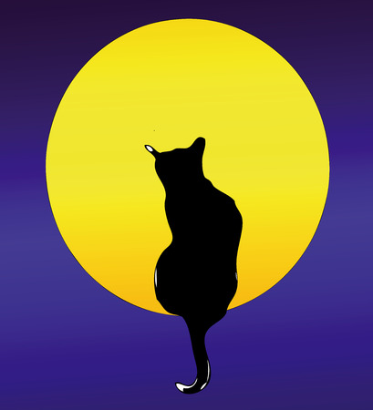 poet: The Cat and the Full Moon - Romantic illustration of a cat in front of the Full Moon Illustration