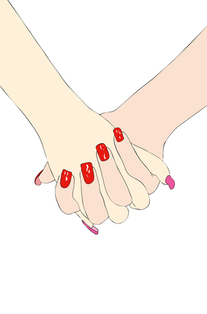 tenderly: Hand in hand - two women tenderly hand-in-hand