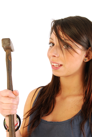 irony: A girl full of irony and armed with a hammer