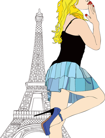 stockings and heels: Greetings and Kisses from Paris - A beautiful girl sends a kiss from Paris
