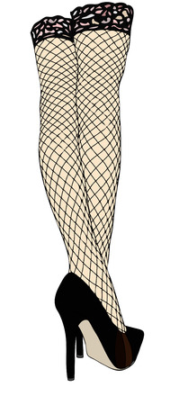 provocative: Legs with fishnet stockings