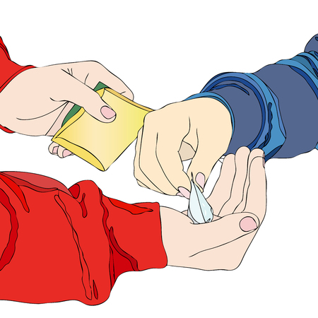 pay for: A drug dealer - A boy meets his pusher and pay for a packet of drugs