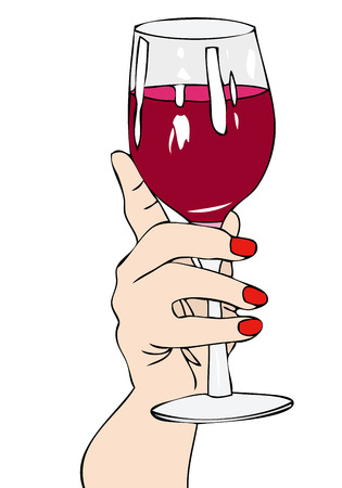 alcohol abuse: To your health - A toast made by a woman to your health Illustration