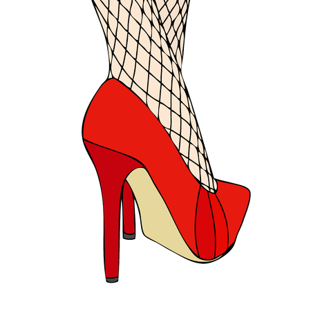 A woman in elegant red shoes and fishnet stockings photo
