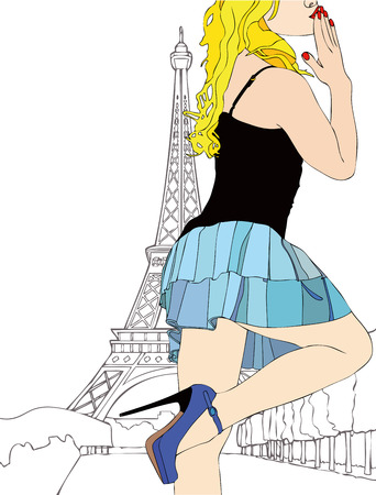 A big kiss from Paris  - A beautiful girl sends a kiss from Paris Vector