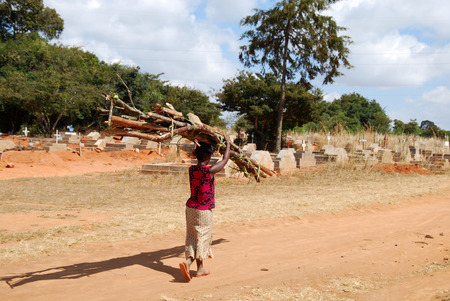 August 2014-Village of Pomerini-Tanzania-Africa-An African woman on the head while carrying a bundle of firewood in the background the-cemetery outside the village with many deaths due to AIDS
