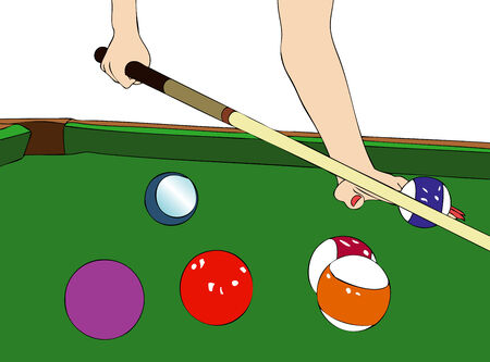 green carpet: Illustration of a woman engaged in a shot at the billiards Illustration