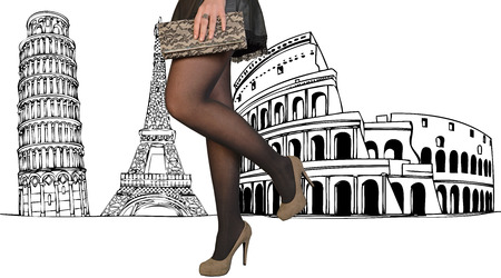 A beautiful woman dressed elegantly among the monuments of the city photo