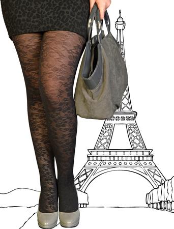 An elegant and seductive woman in Paris photo