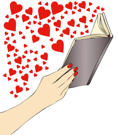 novel: A woman while reading an exciting novel of love Illustration