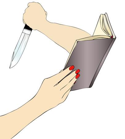 murderess: A woman while reading a terrifying crime novel Stock Photo