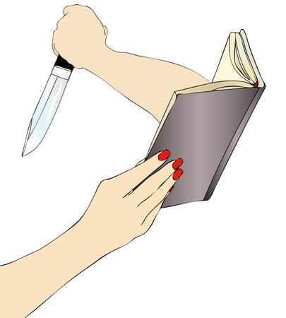 novel: A woman while reading a terrifying crime novel Illustration