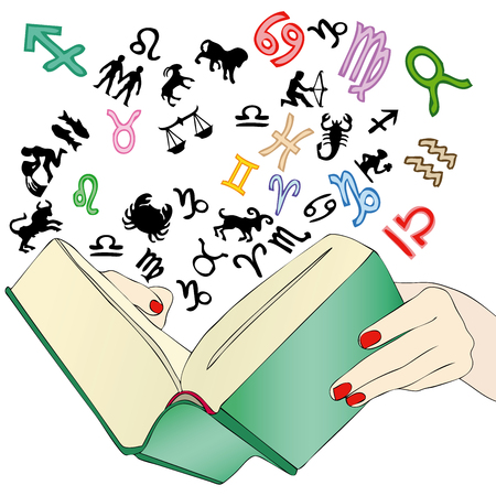 flipped: A woman while he flipped through a book of horoscopes to know the future Illustration