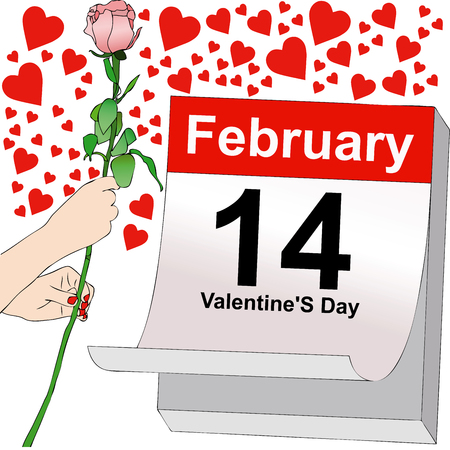 february 14: Illustration symbolic representative of the Feast of Love in the Valentines day, February 14