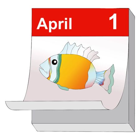 jest: April 1, humorous illustration representing  the day of pranks and false news