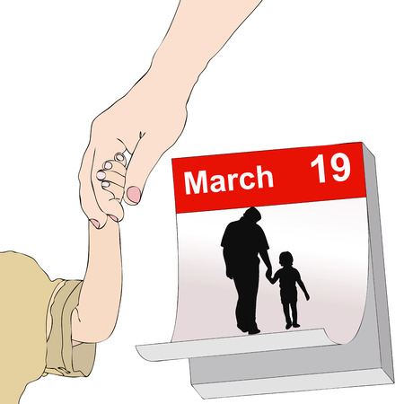 affected: The representative illustration Fathers Day, with a child with her hand in the hand of his father