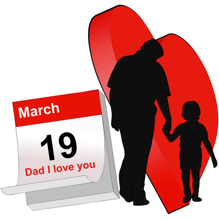 sweetness: The representative illustration Fathers Day, with a child with her hand in the hand of his father