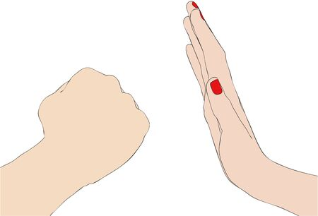 oppression: Symbolic illustration depicting a female hand that blocks the violent act of a man