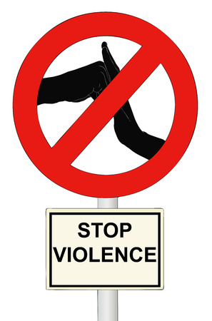 dignity: Illustration representing a symbolic sign that stops the mans violence against women Stock Photo