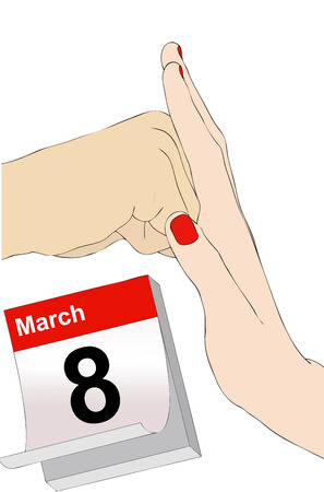 oppression: Illustration representing the symbolic day of 8 March against violence on women
