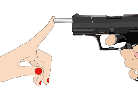 idealism: Illustration depicting a girl that with a finger blocking the barrel of a gun
