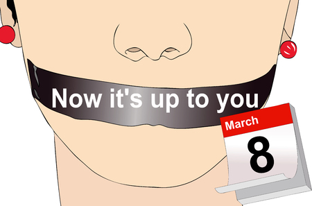 gagged: Now its up to you - Symbolic illustration depicting the liberation of women celebrated on March 8, International Womens Day